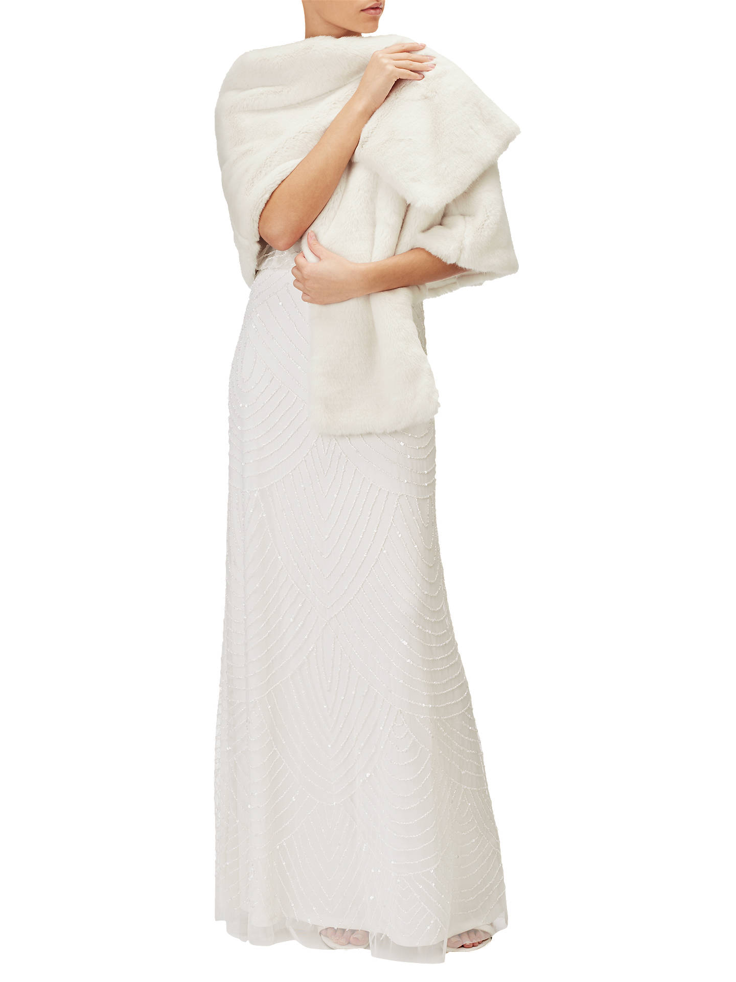 BuyAdrianna Papell Faux Fur Wrap, Ivory, S Online at johnlewis.com