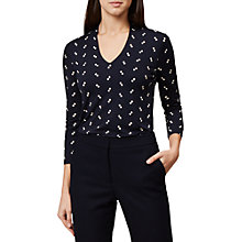 Buy Hobbs Aimee Printed Top, Navy/Ivory Online at johnlewis.com