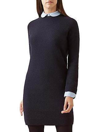 Hobbs Coral Knitted Dress, Navy Chambray