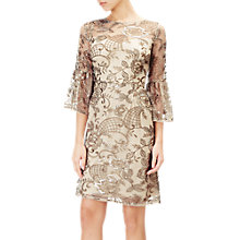 Buy Adrianna Papell Short Embroidered Dress, Gold Online at johnlewis.com