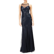 Buy Adrianna Papell Beaded Halter Mermaid Gown, Midnight Online at johnlewis.com