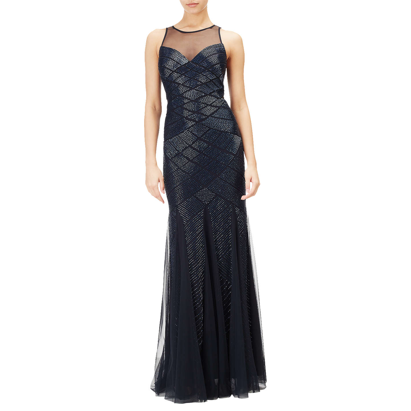 Adrianna Papell Beaded Halter Mermaid Gown, Midnight at John Lewis