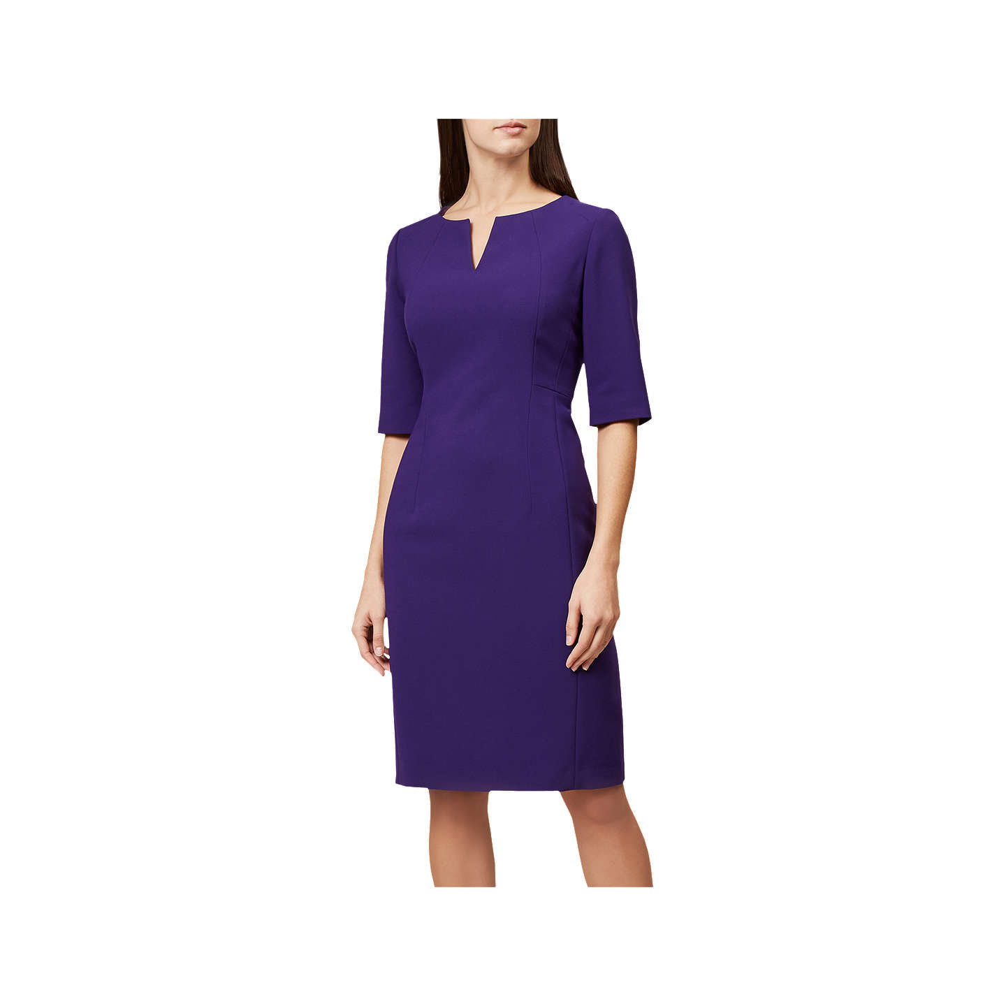 Hobbs Eimear Short Sleeve Dress, Purple at John Lewis