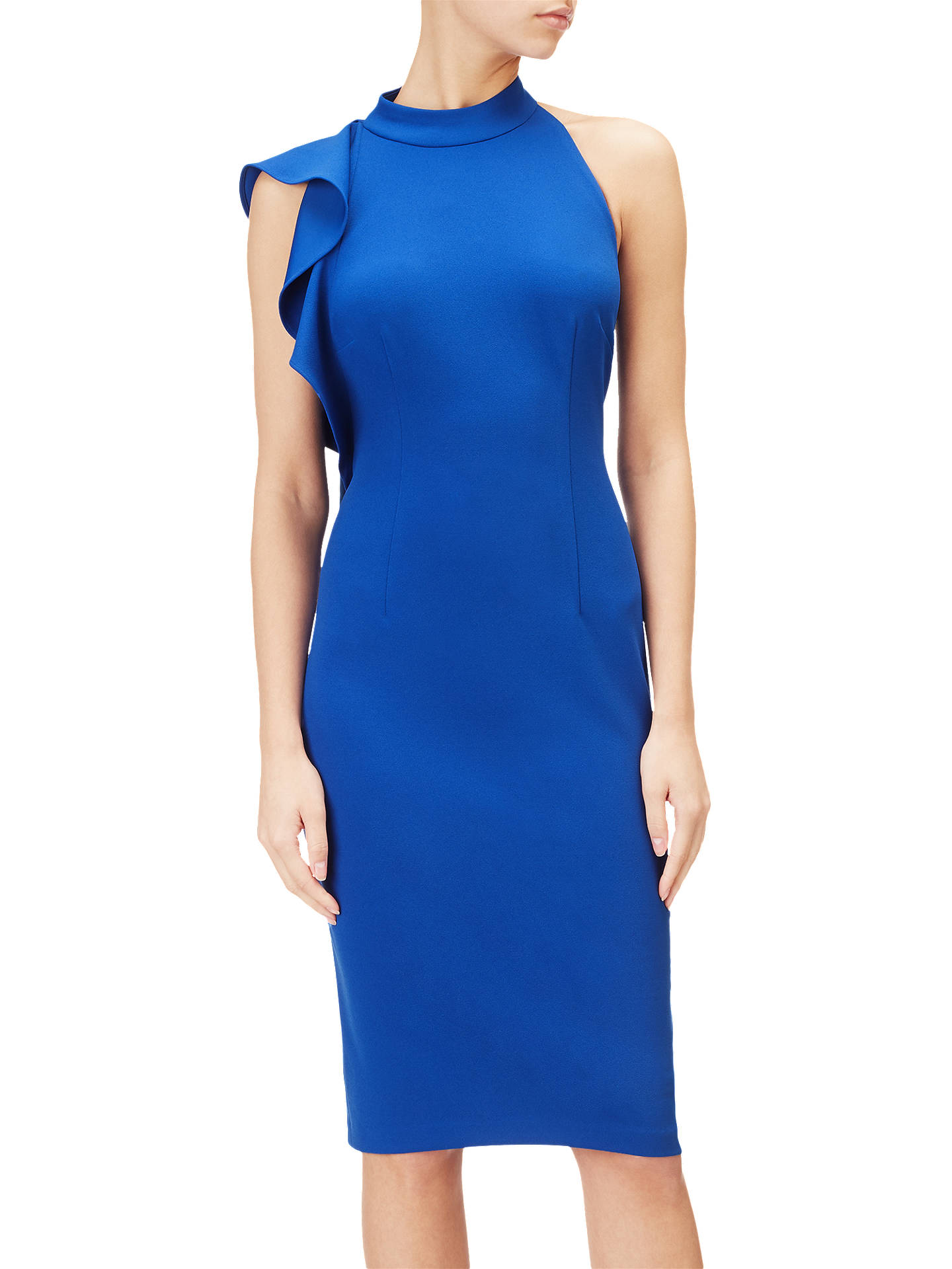 Buy Adrianna Papell Ruffle Crepe Halter Dress, Royal Blue, 6 Online at johnlewis.com