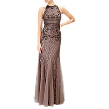 Buy Adrianna Papell Long Beaded Gown, Stone Online at johnlewis.com
