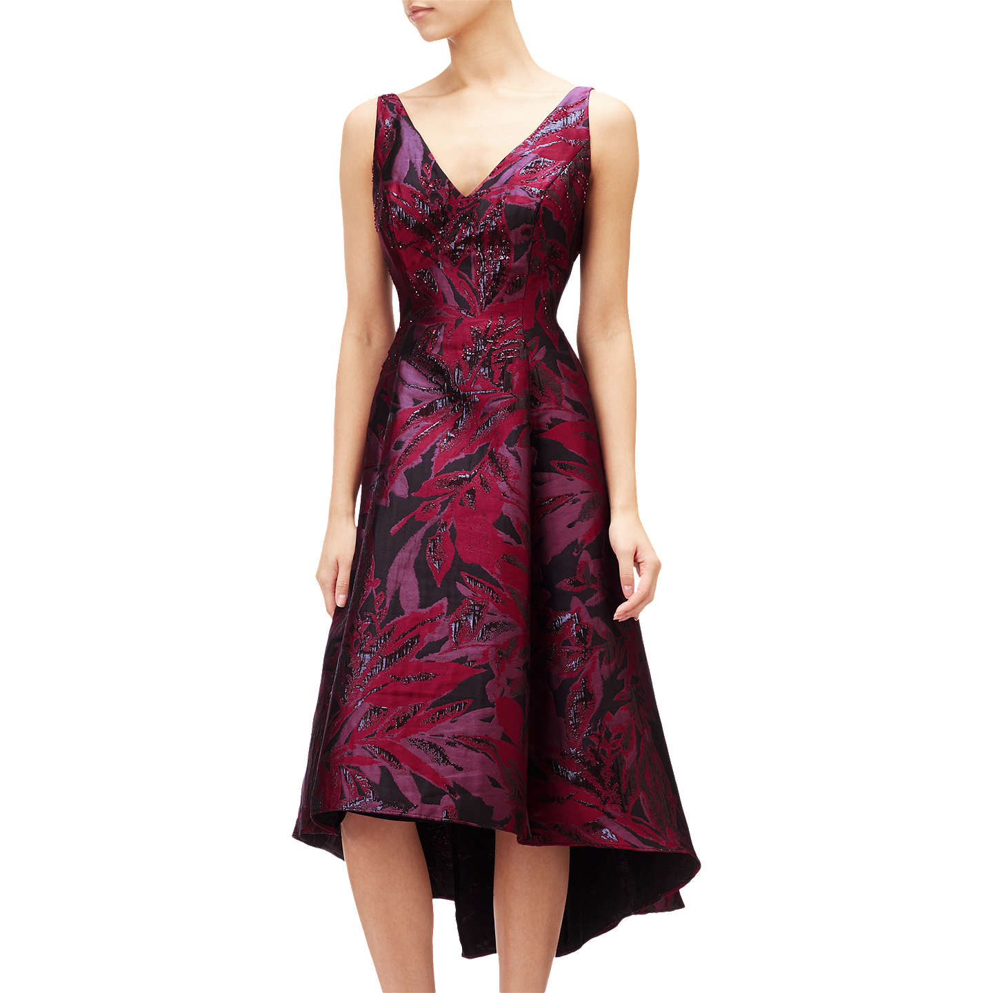 Adrianna Papell Floral Jacquard Embellished Dress, Wine Berry/Multi ...