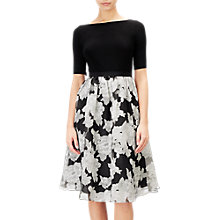 Buy Adrianna Papell Savannah Floral Organza Fit And Flare Dress, Black/Ivory Online at johnlewis.com