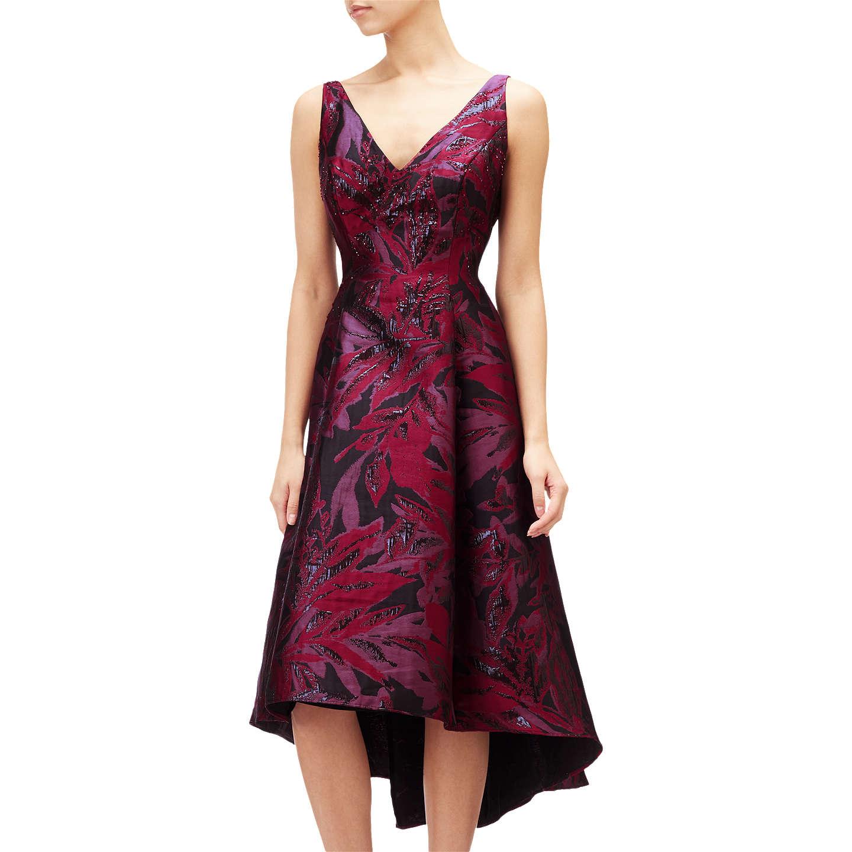 Adrianna Papell Plus Size Floral V Neck Jacquard Midi Dress Wine