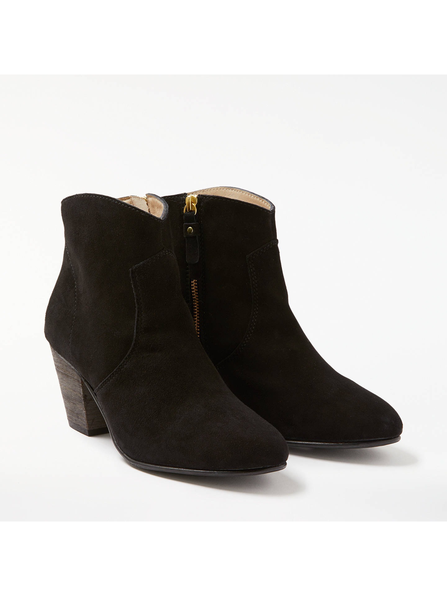 Buy Boden Boho Block Heeled Ankle Boots, Black Suede, 4 Online at johnlewis.com