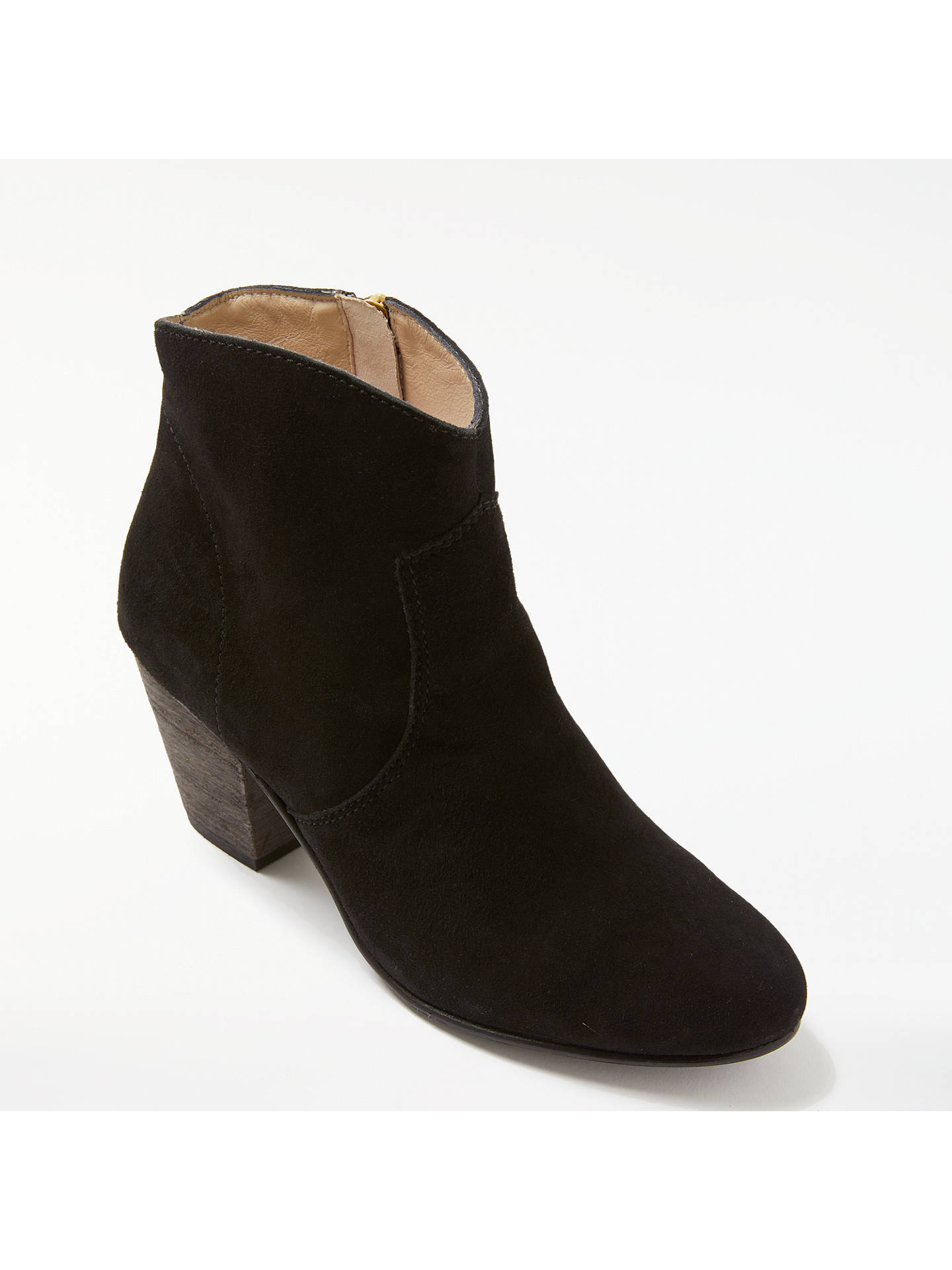 BuyBoden Boho Block Heeled Ankle Boots, Black Suede, 4 Online at johnlewis.com
