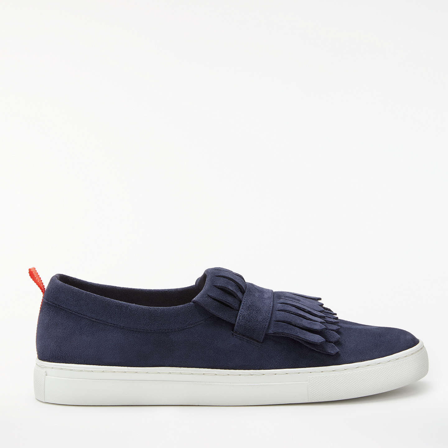Boden Rayna Fringed Slip On Trainers, Navy Suede by Boden