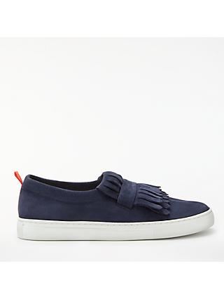 Boden Rayna Fringed Slip On Trainers, Navy Suede