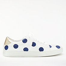 Buy Boden Hollie Lace Up Trainers, Navy/White Leather Online at johnlewis.com