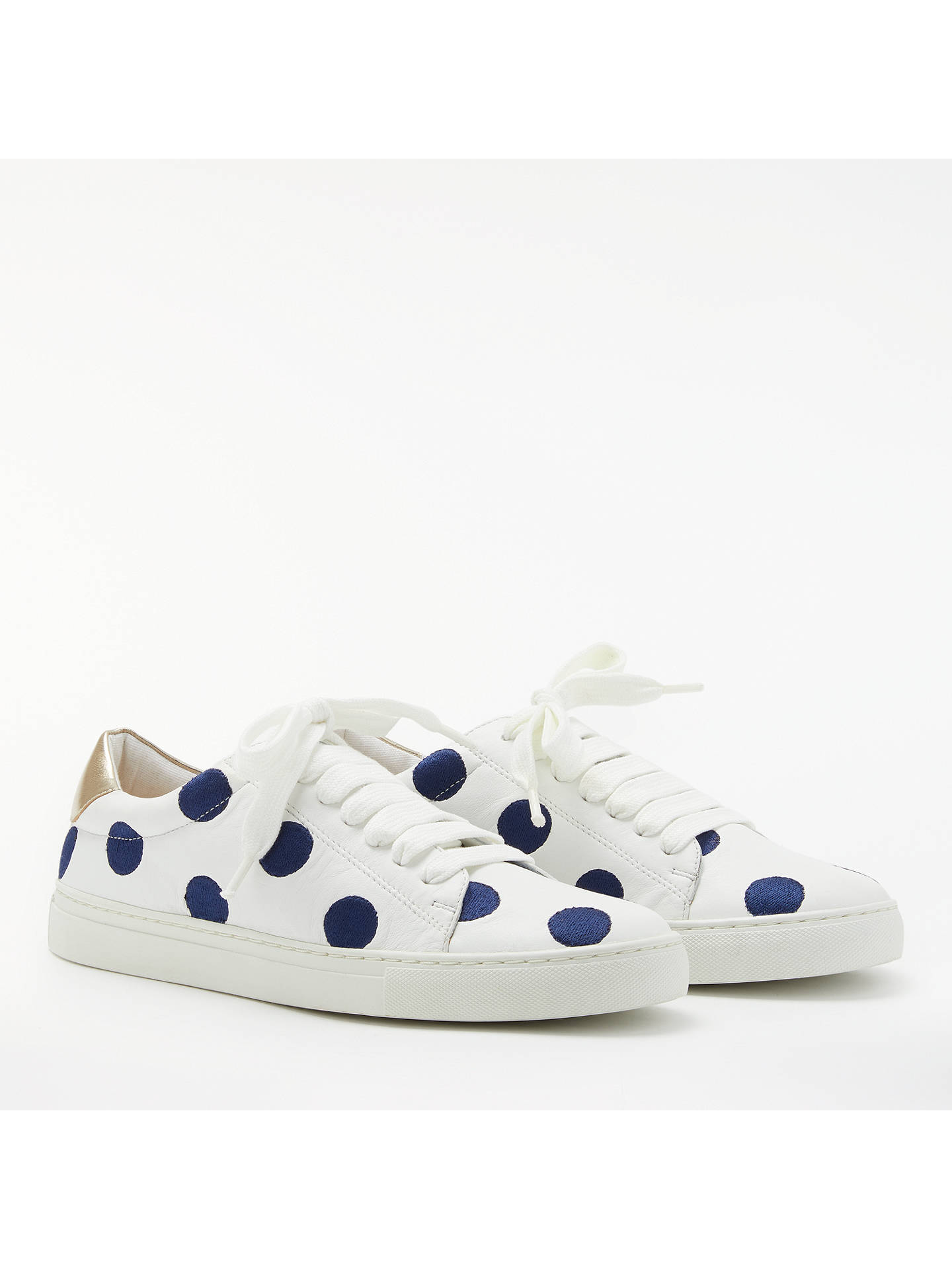 BuyBoden Hollie Lace Up Trainers, Navy/White Leather, 4 Online at johnlewis.com