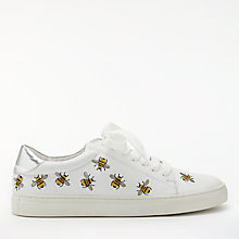 Buy Boden Hollie Bumble Bee Lace Up Trainers, Silver/White Online at johnlewis.com