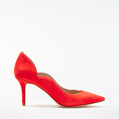 Boden Madison Stiletto Heeled Court Shoes, Red Pop Suede