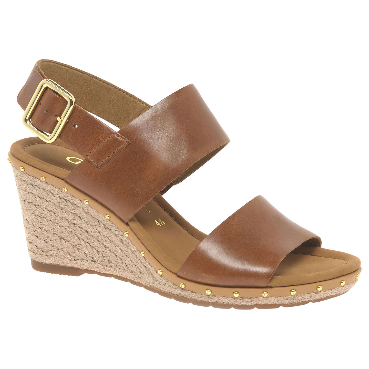 BuyGabor Anna 2 Wide Fitting Mid Height Wedge Sandals, Peanut Leather, 3  Online at ...