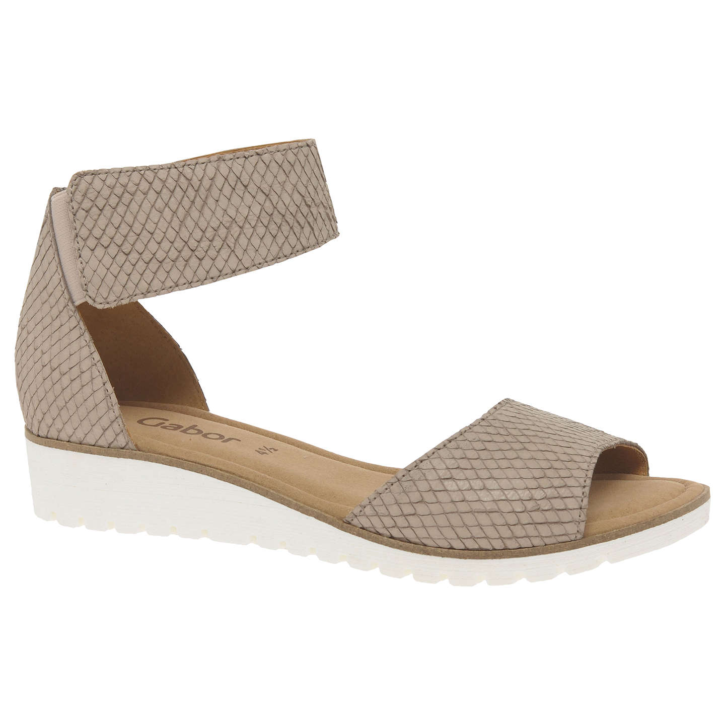 BuyGabor Penny Wedge Heeled Sandals, Nude Leather, 4 Online at  johnlewis.com ...