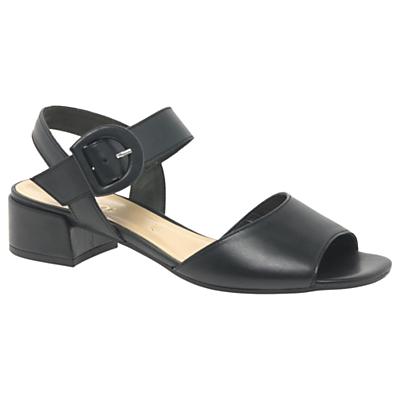 Gabor Adapt Block Heeled Sandals, Black Leather