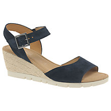 Buy Gabor Nieve Wide Wedge Heeled Sandals, Ocean Suede Online at johnlewis.com
