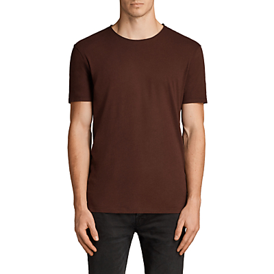 Product photo of Allsaints figure crew neck short sleeve tshirt burnt red