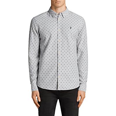 Product photo of Allsaints fairfield spot print long sleeve shirt grey black