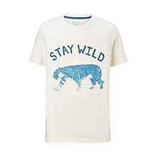 Buy John Lewis Boys' Stay Wild Tiger Print T-Shirt, White Online at johnlewis.com