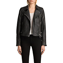 Buy AllSaints Conroy Leather Jacket, Ink Online at johnlewis.com
