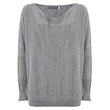 Buy Mint Velvet Zip Cuff Batwing Top, Grey Online at johnlewis.com