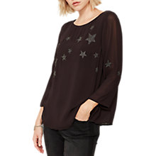 Buy Mint Velvet Star Embroidered Top, Charcoal Online at johnlewis.com