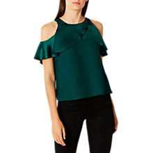 Buy Coast Krissi Cold Shoulder Top, Forest Online at johnlewis.com