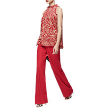 Buy Reiss Linear Burn-Out Detail Halterneck Top, Maraschino Red Online at johnlewis.com