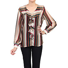Buy Jolie Moi Striped Frilly V-Neck Blouse, Multi Online at johnlewis.com
