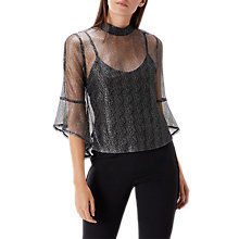 Buy Coast Karli Metallic Fluted Top, Gunmetal Online at johnlewis.com