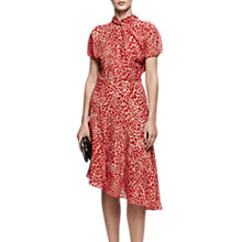 Buy Reiss Zhen Asymmetrical Hem Puff Sleeve Midi Dress, Maraschino Online at johnlewis.com