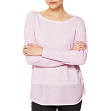 Buy Mint Velvet Woven Hem T-shirt, Light Purple Online at johnlewis.com