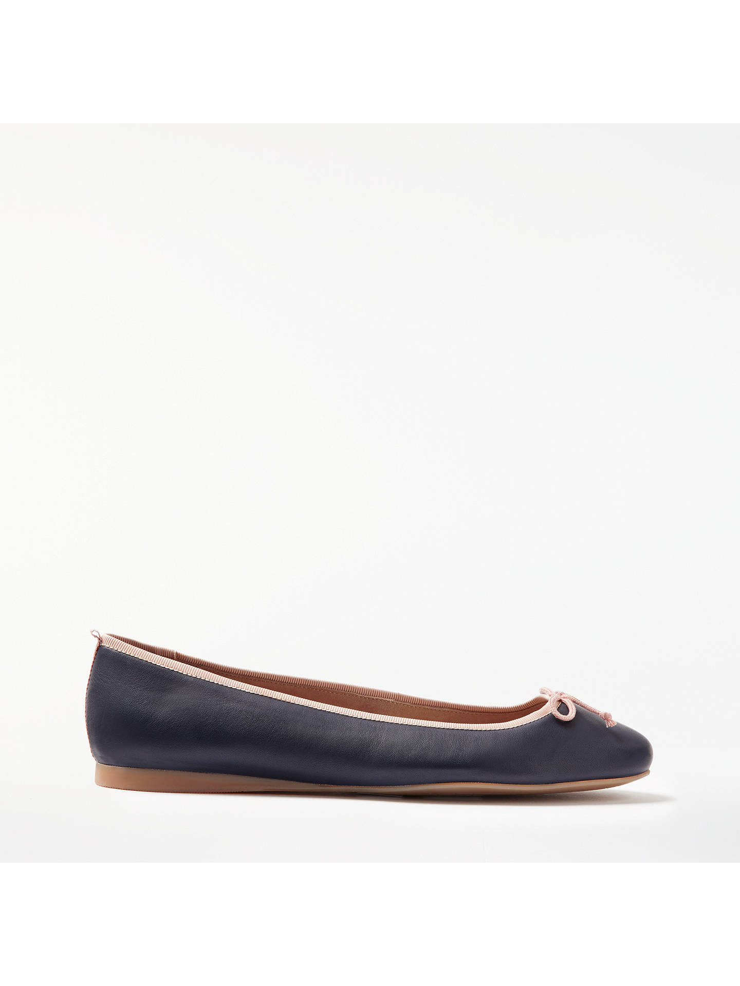 Buy Boden Ballerina Pumps, Navy Leather, 4 Online at johnlewis.com