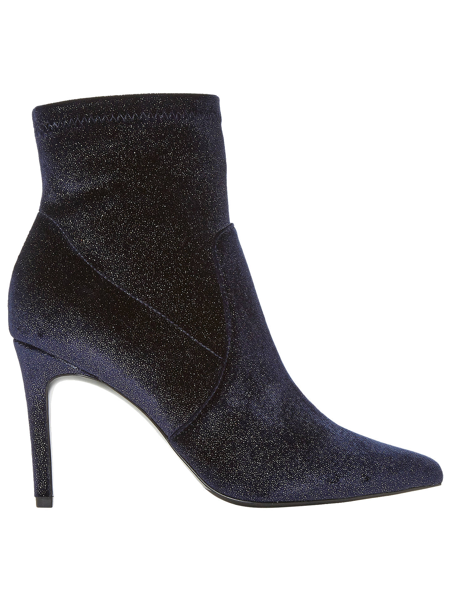 BuyDune Ormand Glitter Stiletto Heeled Ankle Boots, Navy, 3 Online at johnlewis.com
