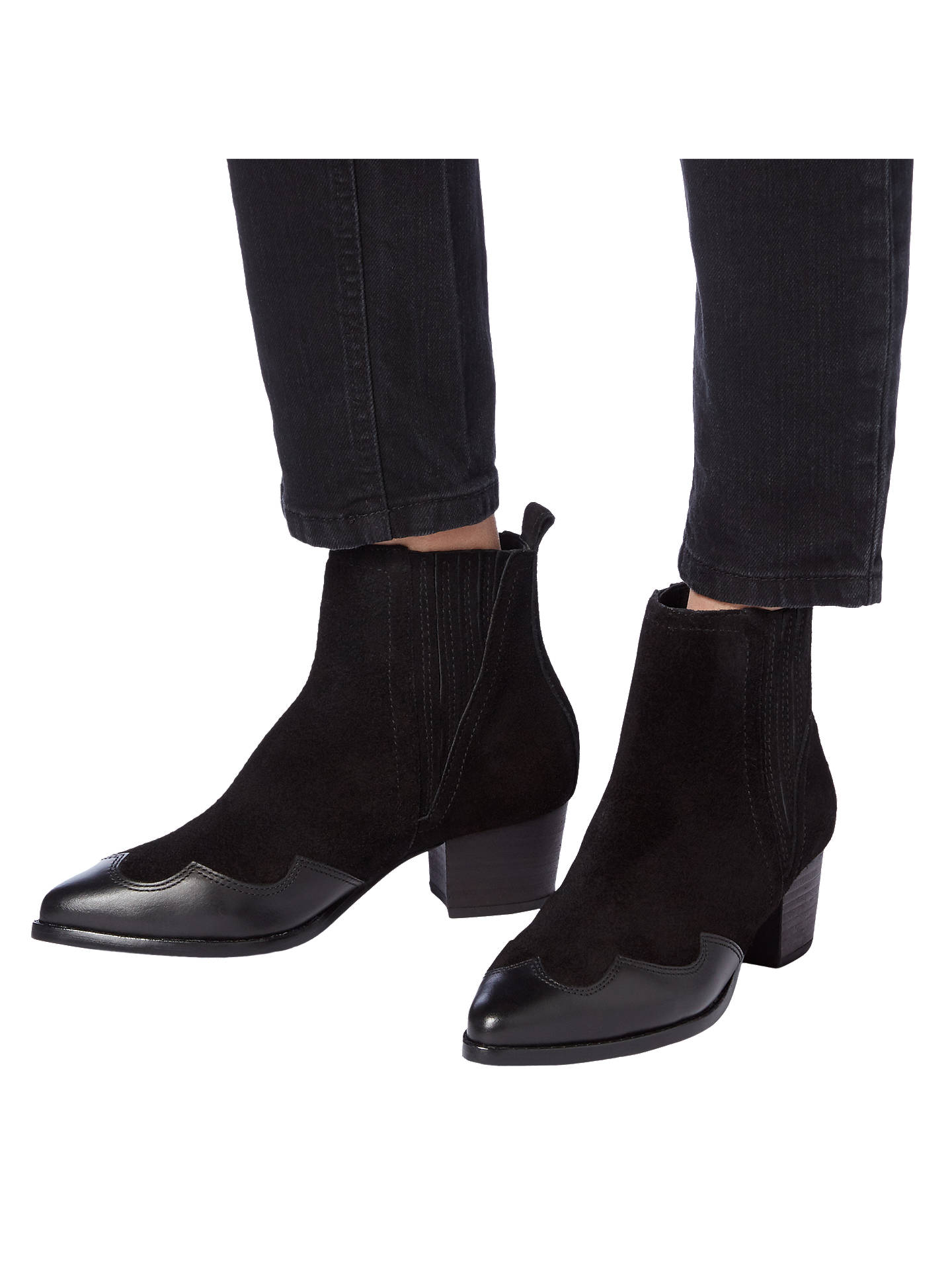 BuyDune Papio Western Ankle Boots, Black Suede, 3 Online at johnlewis.com