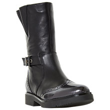 Buy Dune Rileigh Biker Calf Boots, Black Leather Online at johnlewis.com