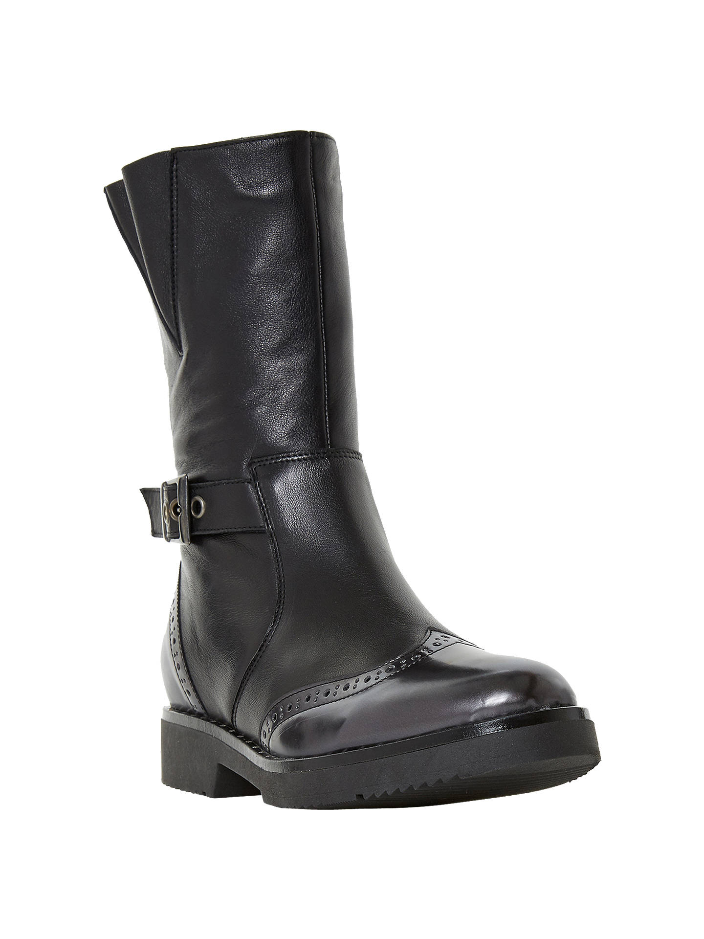 BuyDune Rileigh Biker Calf Boots, Black Leather, 3 Online at johnlewis.com