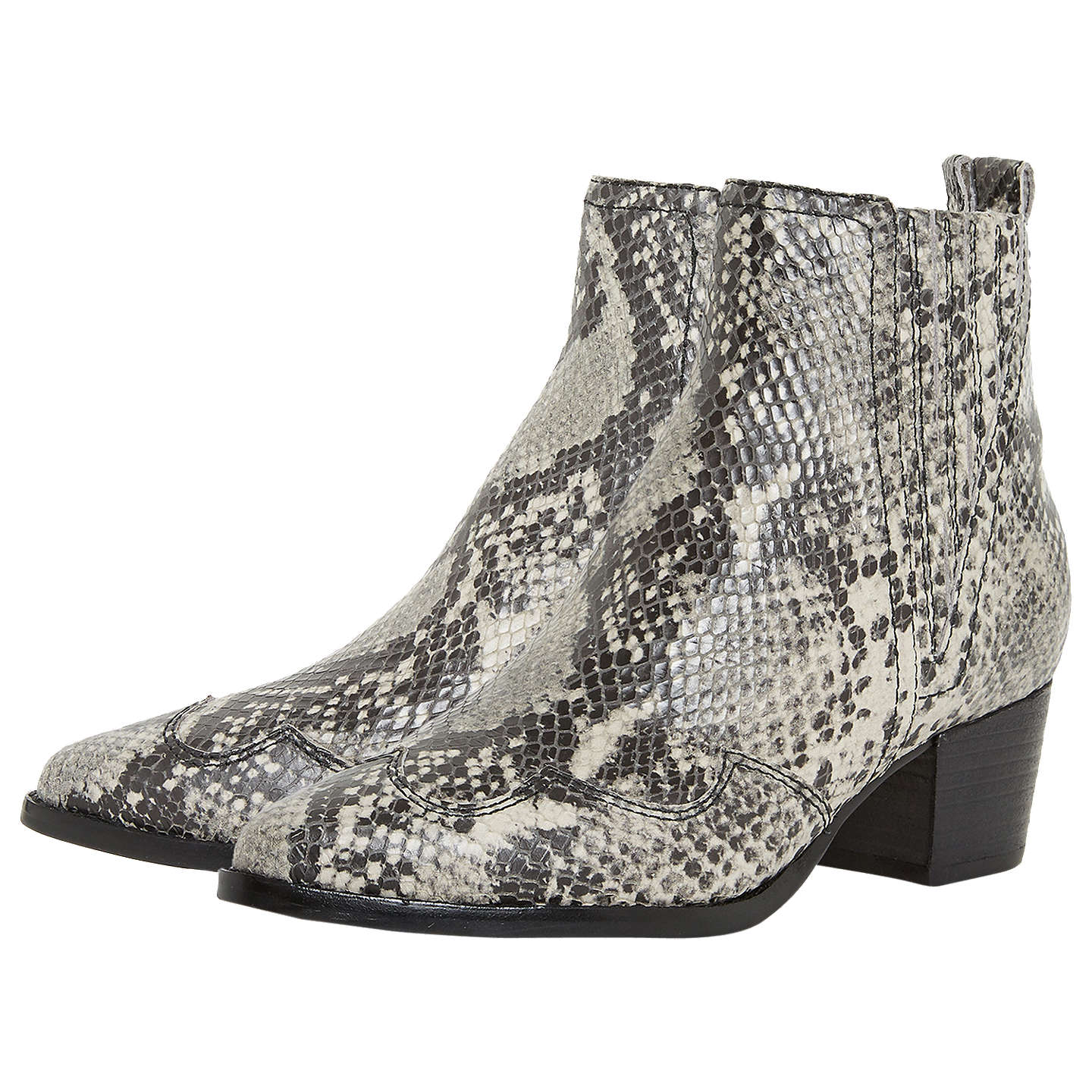 BuyDune Papio Western Ankle Boots, Natural Leather, 3 Online at johnlewis.com
