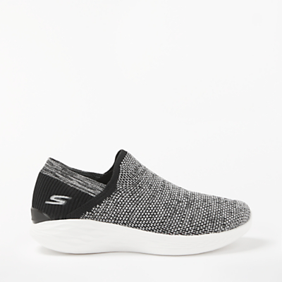 Skechers You Rise Slip On Trainers, Black/White
