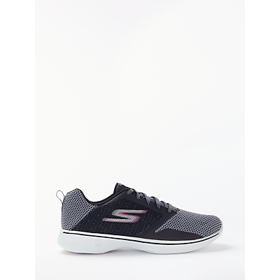 Skechers Go Walk 4 Lace Up Trainers, Black/Pink