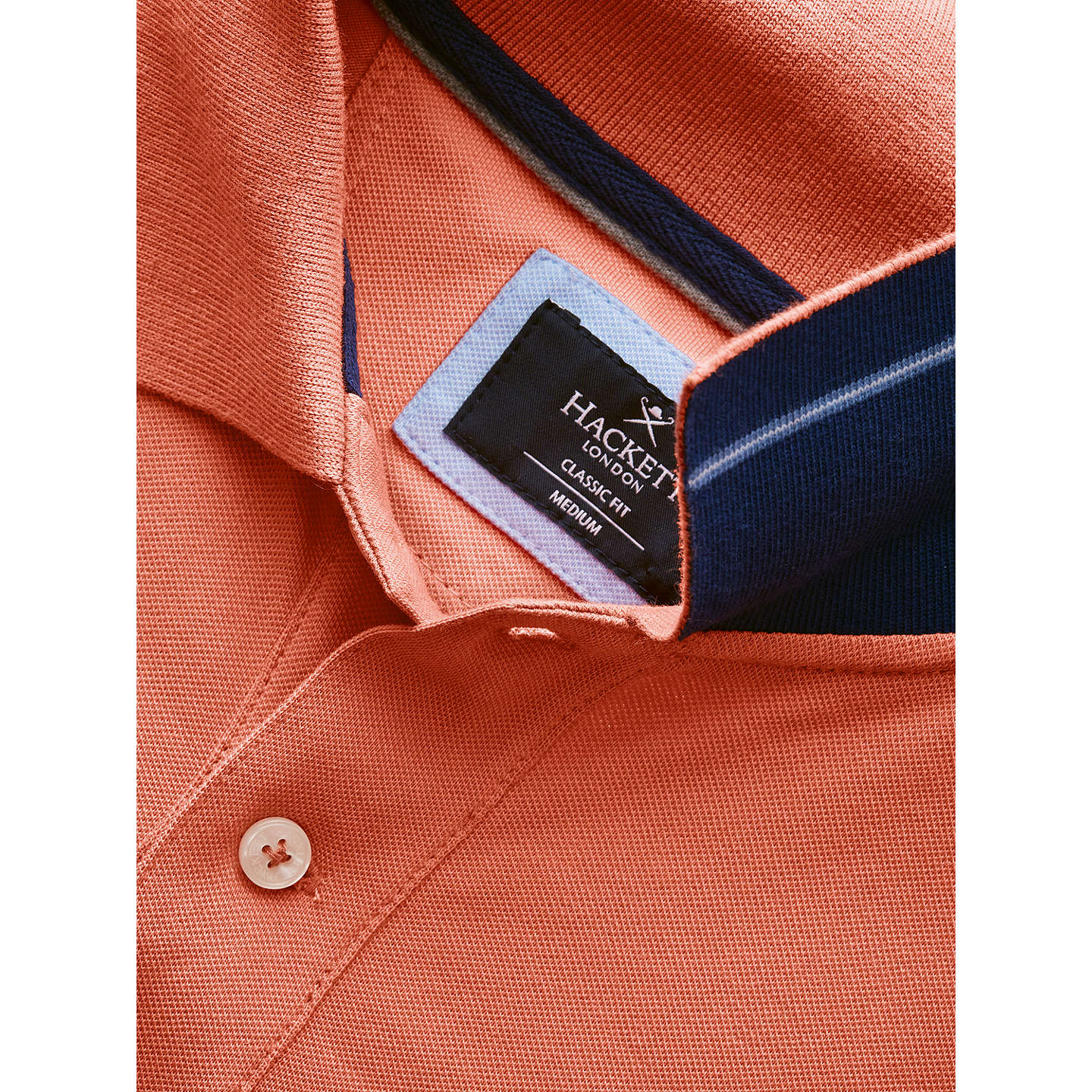 BuyHackett London New Classic Short Sleeve Polo Shirt, Coral, S Online at johnlewis.com