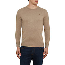 Buy Hackett London Cotton Silk Crew Neck Jumper, Light Brown Online at johnlewis.com