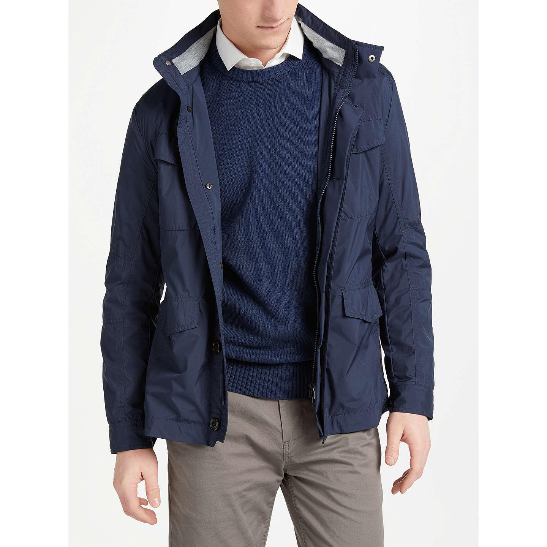 BuyHackett London Jersey Lined Field Jacket, Navy, S Online at  johnlewis.com ...
