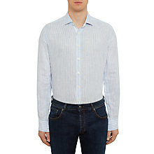 Buy Hackett London Striped Linen Long Sleeve Shirt, Bright Blue Online at johnlewis.com