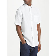 Buy Hackett London Short Sleeve Linen Shirt, White Online at johnlewis.com