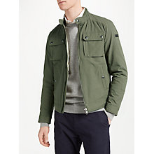 Buy Hackett London Moto Blouson Jacket, Military Green Online at johnlewis.com